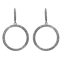 Pave Cubic Zirconia Open Circle Leverback  Dangle Earrings - $34.64