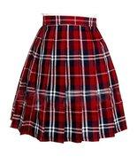 Women`s School Uniform Flared slim Plaid Pleated Skirts(XL ,Red blue) - $19.79
