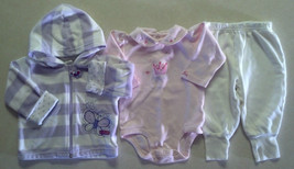 Girl's Size 9 M Months 3 Piece Outfit Butterfly Hooded Jacket, Pink Top & Pants - $16.00