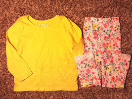 Girl's Size 3T 3 T Years Yellow Children's Place L/S Top & Floral Laced Tights - $8.00