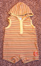 Boy's Size 6-9 M Months One Piece Yellow Children's Place Hooded Zebra Romper - $12.00