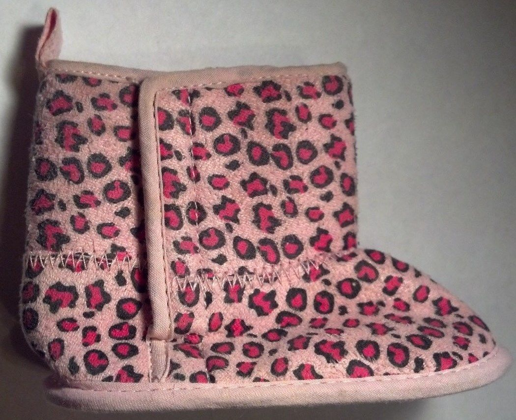 Baby Girl's Size 3-6 M Months Infant Toddler Pink Animal Print Boots Velcro