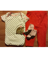 Girl's Size 9 M 6-9 Months Two Piece Carter's Cream Monkey Top, Orange P... - $14.00
