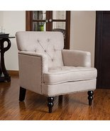 Mid Century Style Beige Linen Button Tufted Uph... - $242.99