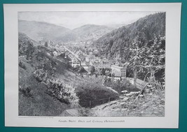 GERMANY View of Triborg in Black FOrest - VICTORIAN Era Engraving Print - $21.60