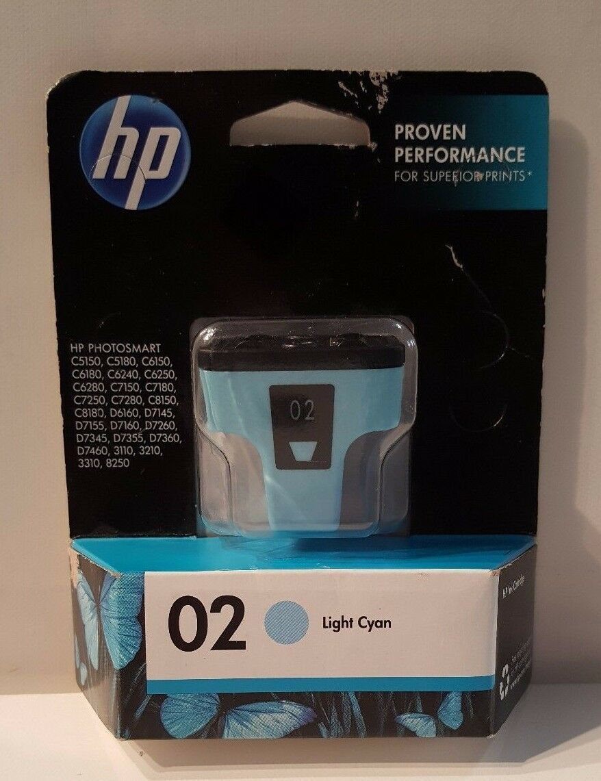 HP 02 New Genuine Printer Ink Cartridge Light Cyan Superior C8774WN PHOTOSMART