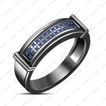 New Ladies 10K Black Gold Finished Blue Sapphire Engagement Wedding Band Ring - $82.99