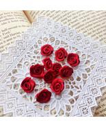 Dark Red Rose Buds,Satin Roses,Sewing,Craft Supply,Ribbon Bows,Mini Fabric Roses - $3.50