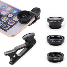 3 in 1 Fish Eye Wide Angle + Macro Clip Lens Fisheye for Phone Camera 4 ... - $7.80