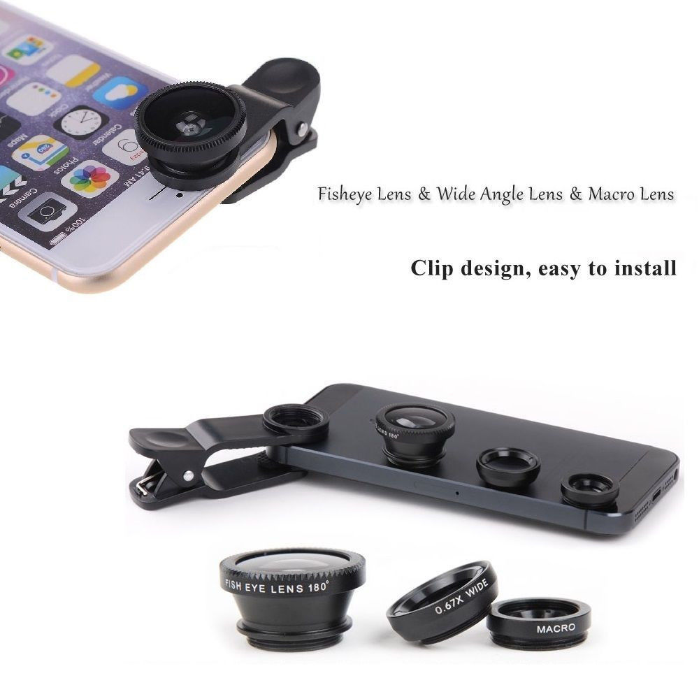 3 in 1 Fish Eye Wide Angle + Macro Clip Lens Fisheye for Phone Camera 4 5 6 s 6S