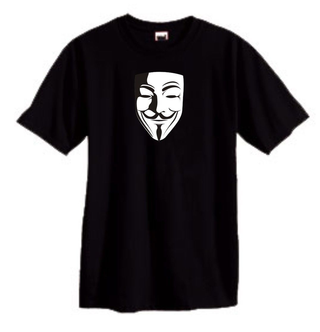 V for Vendetta Fawke Mask T shirt black comic book movie 100% cotton graphic tee