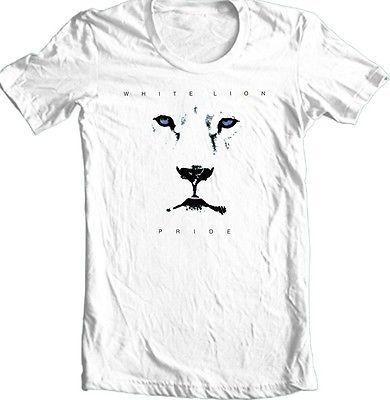White Lion Pride Album Cover T-shirt 80's glam hair metal 100% cotton white tee