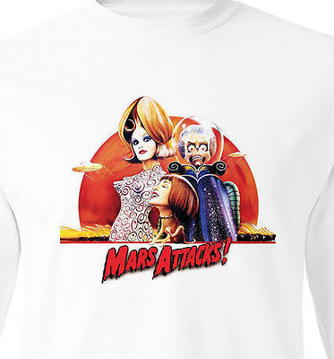 Mars Attacks Long Sleeve T shirt retro 90's sci fi movie 100% cotton graphic tee