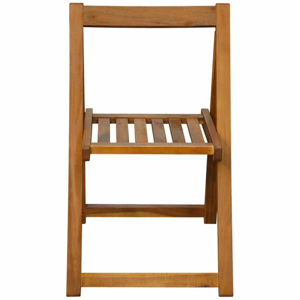 vidaXL 2x Solid Acacia Wood Folding Garden Chairs Outdoor Seat Dining Chair image 3