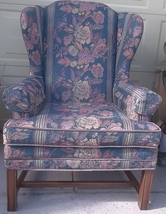Wingback Chair;Tapestry&Velour Upholstery;Chippendale Legs;Flexsteel Spr... - $150.00