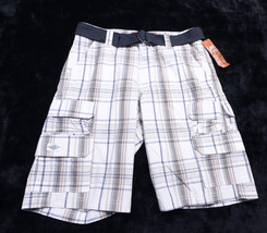 Nwt Men's Shorts Lee Dungarees Belt 30 Multi Colored Plaid New Khaki Vulcan - $27.75