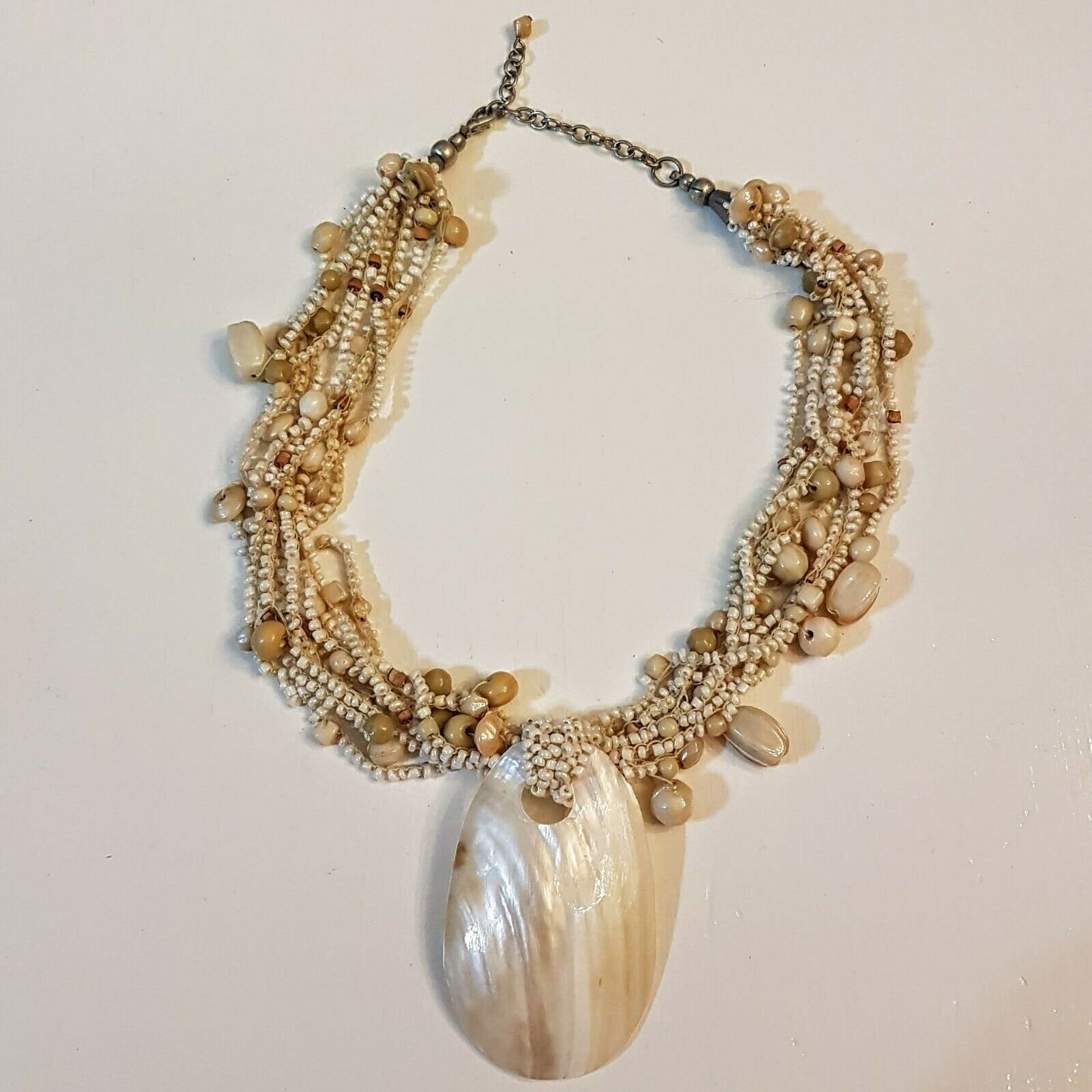 Primary image for Mother of Pearl Shell Pendant NECKLACE Adjustable Beaded Torsade Neutral Shades