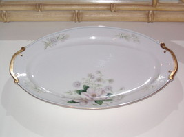 Grace China ROCHELLE Oval Serving Platter 16 in Pink Flowers Gold with B... - $49.99