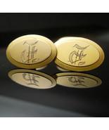9kt rose gold cufflinks Victorian 1800's initials F M signet hallmark we... - $195.00