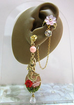 Pink Coral Mermaid With Seashell Ear Cuff Ear Wrap One Sided Earring - $59.00