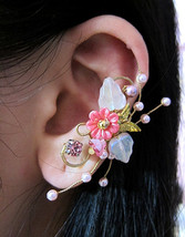 Pink Flowers Garden And Bird Ear Cuff, Fantasy Ear Cuff, Pink Ear Cuff, ... - $48.00