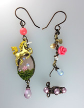 Beautiful Unicorn In The Pink Forest Earrings And Ear Cuff Set by Aldesigns - $86.00