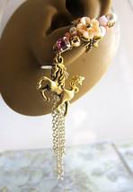 Mystical Peach Pink Unicorn Ear Cuff Earring Flower Orbs Fantasy Horse F... - $48.00