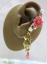 Lover Cats Playing In the Pink Garden With Teardrop Ear Cuff Earring Kitten - $46.00
