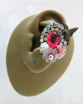 Lovely Bird In A Translucent Pink Garden With Crystals Ear Cuff Silver B... - $49.00