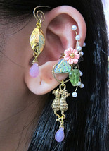 Cats Playing In The Pink Garden Ear Wrap And Ear Cuff Earring by Aldesigns - $63.00