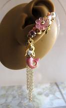 Pink Mermaid With Seashell Ear Cuff II, Nautical Ear Cuff, Ocean Ear Wrap - $48.00