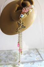 Frog In Pink Garden Ear Cuff Flower Wild Crystals Pearls Chain Dangle El... - $46.00