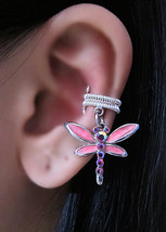 Simple Pink Dragonfly With Silver Ear Cuff Dangle Romance Faerie Fantasy - $37.00