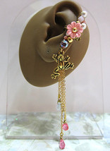 Frog In Coral Pink Garden Ear Cuff Flower Wild Crystals Pearls Chain Dangle - $46.00