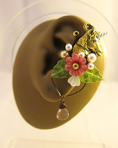 Lovely Unicorn In The Pink Garden Ear Cuff And Earrings Nature Gold Pegasus - $78.00