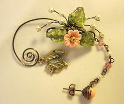 Cute Pomeranian In The Pink Garden Ear Wrap, Ear Cuff And Stud Earring D... - $65.00
