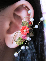 Red and Green Garden Flowers With Bird Ear Cuff Woodland Fantasy Nature ... - $51.00