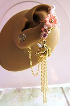 Lovely Light Pink Unicorn Ear Cuff And Swarovski Orbs Stud Nature Gold P... - $53.00