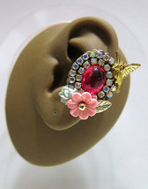 Lovely Bird In A Pink Garden With Crystals Ear Cuff Gold Born Free Sparkle - $49.00