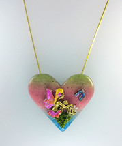 Lovely Heart Polymer Clay Pendant With Fairy Necklace I, Fairy Heart Pen... - $58.00