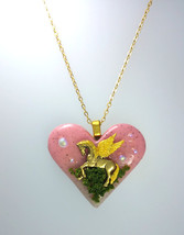 Lovely Heart Polymer Clay Pendant With Pegasus Necklace IV, Mythological... - $58.00