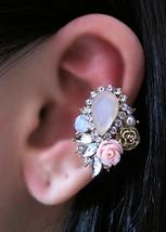 Elegant Pink Rose Garden With Rhinestones Ear Cuff Woodland Gold Feminin... - $39.00