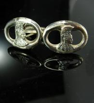 Sterling Mayan Cufflinks Vintage Indian warrior silver feather headdress - $225.00