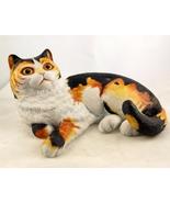 Vintage Franklin porcelain calico cat figurine ... - $22.00