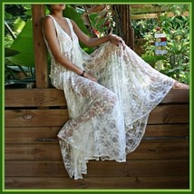 White Long Sleeveless Bohemian V Neck Floral Lace Casual Beach Dress Lounger image 2