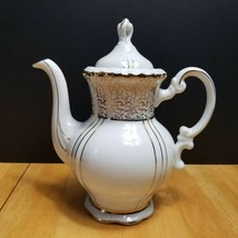 Seyei Fine China Coffee Pot with Lid Gold Line Design White Handle - $21.73