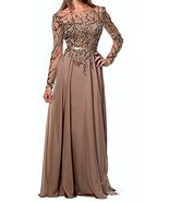 Fanmu Illusion Neck Long Sleeve Beaded Evening Dress Party Prom Gowns Kh... - $199.99