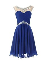 Fanmu Sheer Scoop Neck Short Prom Homecoming Dresses Cocktail Party Gown Roya... - $85.99
