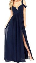 Fanmu V Neck Straps Long Chiffon Bridesmaid Dress Prom Party Gowns Navy US 16 - $89.99