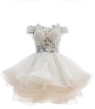 Fanmu Off Shoulder Mini Orgnaza Wedding Bridal Dress Cocktail Homecoming Gown... - $95.99
